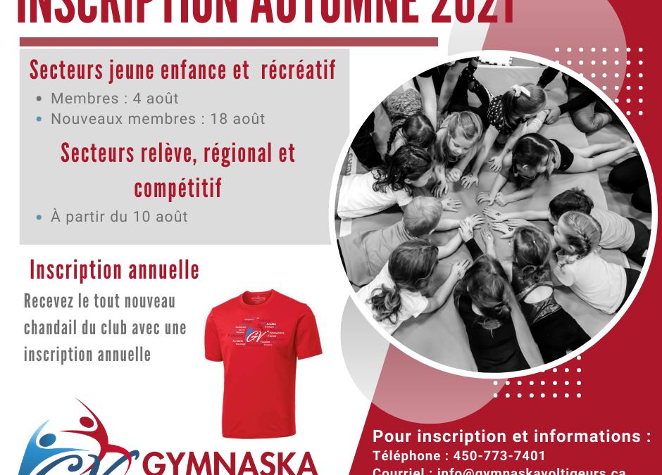 Inscriptions Automne 2021